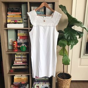 Madewell A-Line White Dress with Frayed Neckline